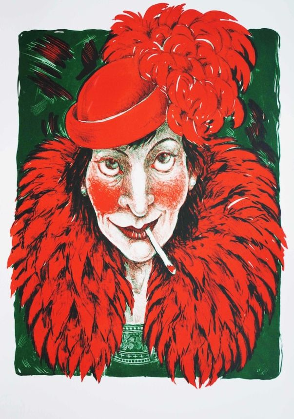 Red Lady lithograph by Gini Wade