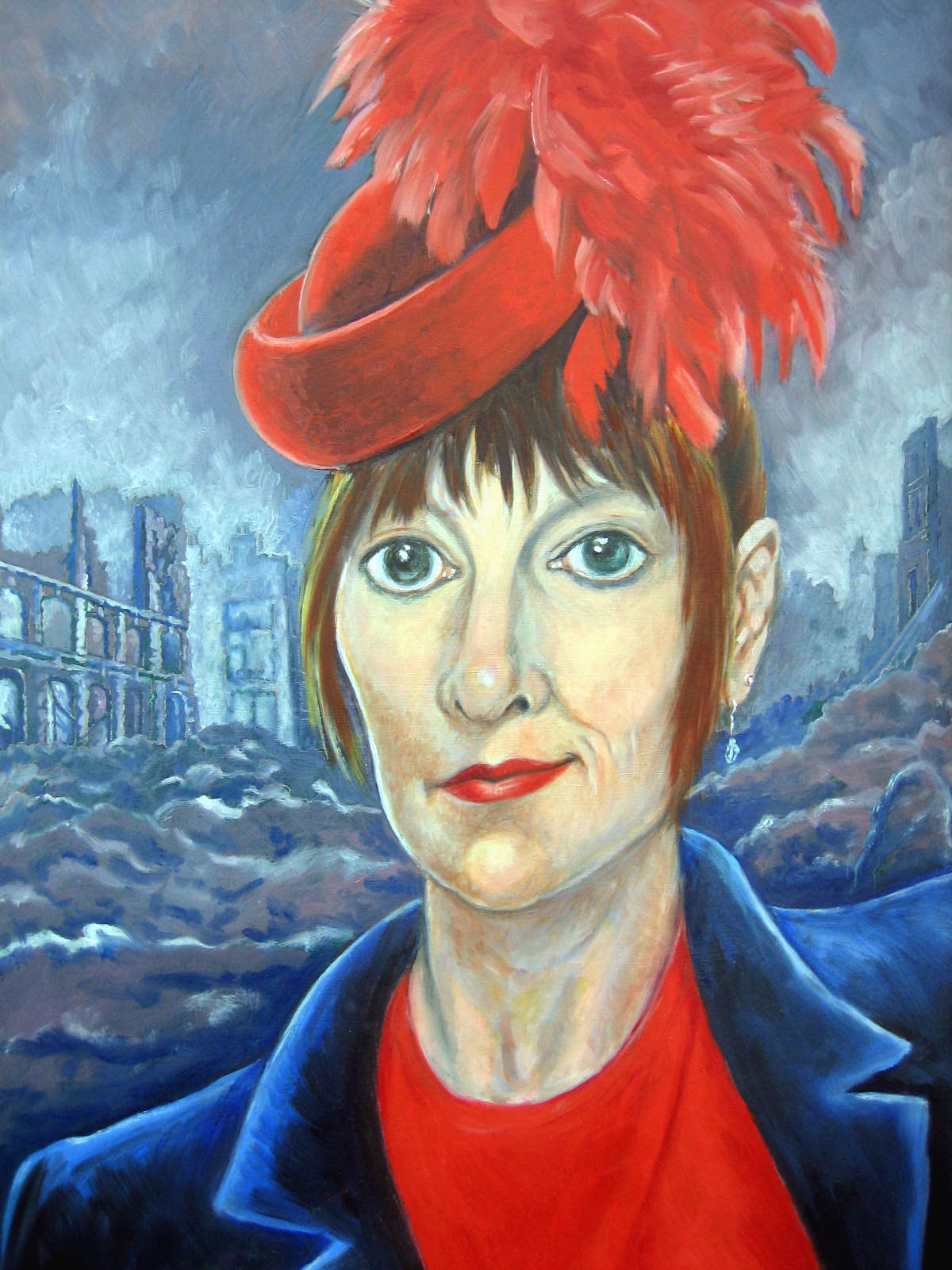 painting titled Red Hat