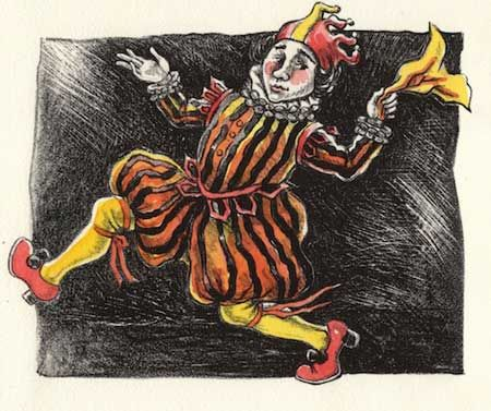 Festive Fool lithograph by Gini Wade