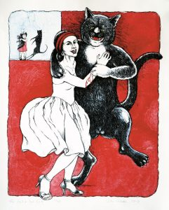 The Girl and her Cat lithograph by Gini Wade