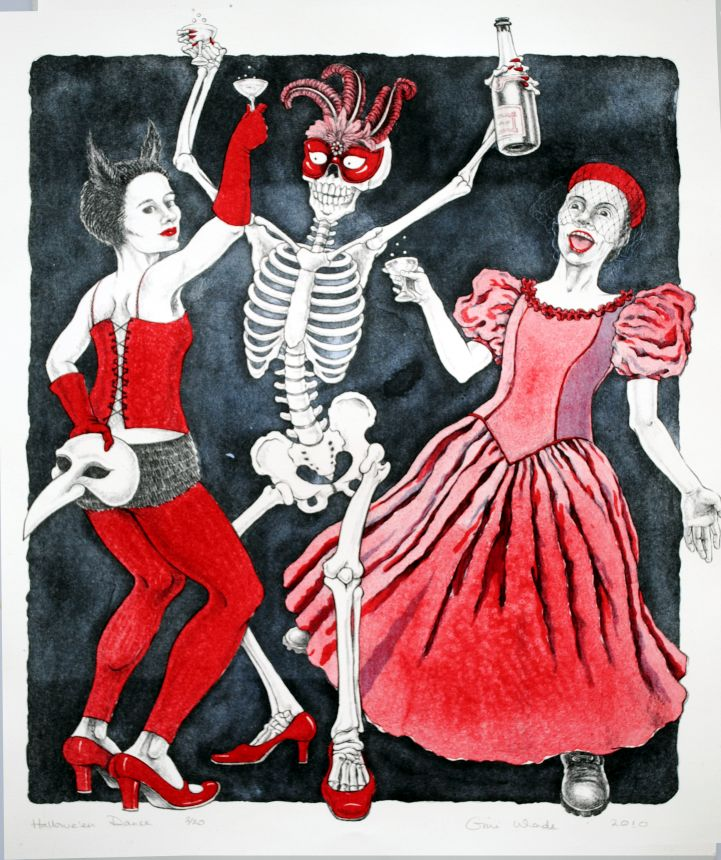 Hallowe'en Dance lithograph by Gini Wade