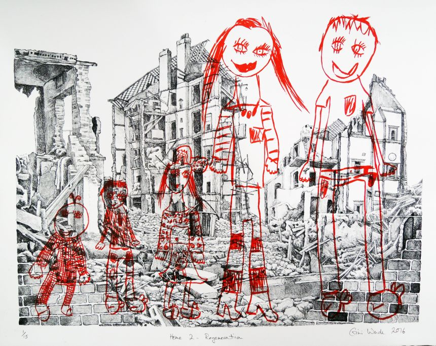 Home 2 - Regeneration lithograph by Gini Wade, in collaboration with Celeste Boulanger (aged 7)