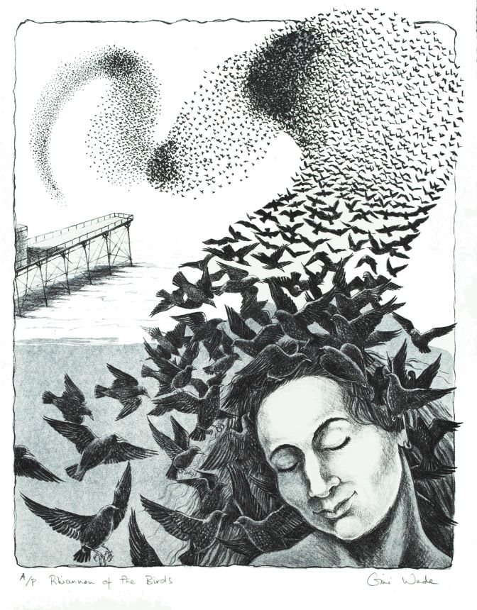 Rhiannon of the Birds lithograph by Gini Wade