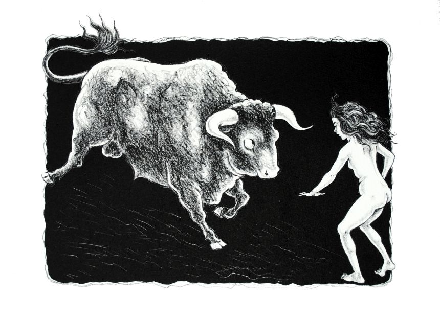 Taurokathapsia 2 lithograph by Gini Wade