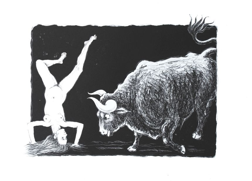 Taurokathapsia 1 lithograph by Gini Wade