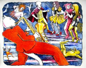 Party On lithograph by Gini Wade