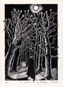 The Priest Walks by Moonlight lithograph by Gini Wade