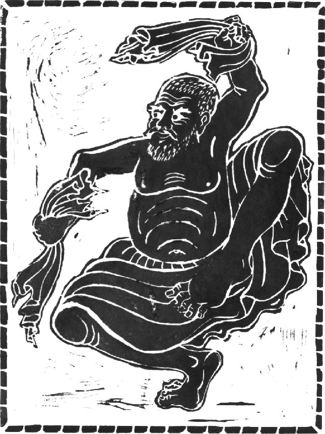 Shaman Dancer, linocut, 2006