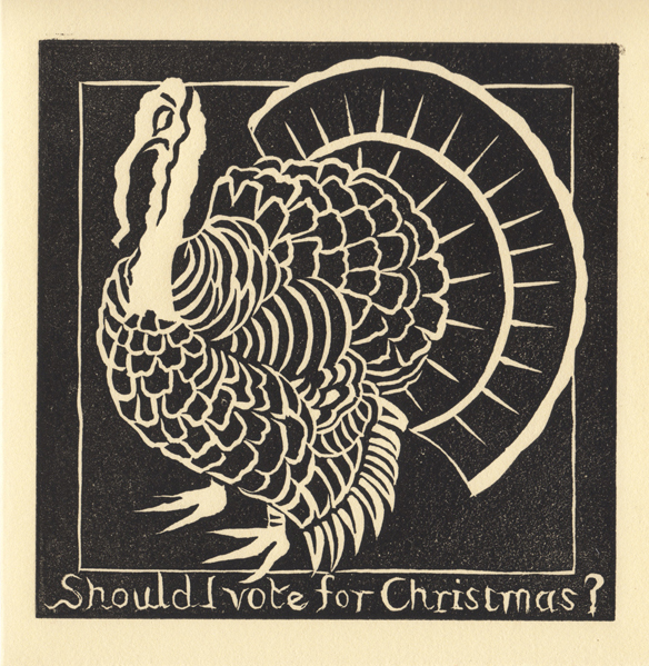 Christmas Turkey greetings card, lino-print by Gini Wade