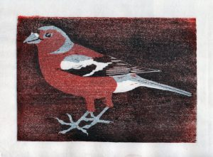 linocut of Bullfinch